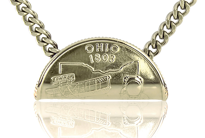 Rolled State Quarter Necklace OH